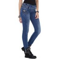 Cipo & Baxx Damen Jeans Hose Slim Fit Dreifachbund Used Straight Fit Denim Patches Pants CBW-0282 Bekleidung