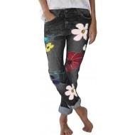 Minetom Damen Jeanshose Skinny Stretch Jeans mit Blumen Slim Hohe Taille Boyfriend Denim Hose Freizeithose Bekleidung