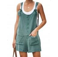 Ailnge Frauen Jumpsuits Sommer Leinen Kurz Strand Overall Playsuits Casual LooseSommerhose Spielanzug mit Taschen Bekleidung