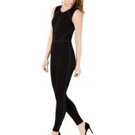 Guess Damen Sleeveless Adora Studded Jumpsuit Jet Black a Groß Bekleidung