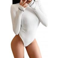 Timagebreze Lucky Label Sexy Bodycon Bodysuit Frauen Tops Langarm Bodysuit Weiblich One Piece Rompers Womens Jumpsuit M Wei? Bekleidung
