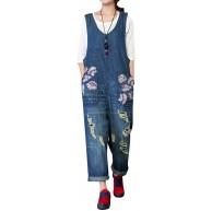 Youlee Damen Sommer Denim Overalls mit Taschen Style 3 Bekleidung