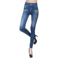 Heiguonvshi Damen Jeggings Jeansoptik Leggings Oversize Treggings Elastic Jeans Strumphose High Waist Skinny Hosen Long Tights S-3XL Bekleidung