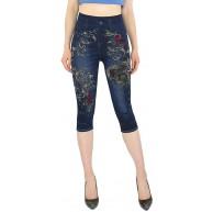 dy mode Damen Capri Jeggings 3 4 Leggings in Jeans Optik - CLG057-058 3LG100-OneSize Gr.36-42 Bekleidung