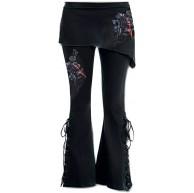 Lovelegis Gothic Damenhose - Damenrock Leggings - Stretch - Hohe Taille - Glockenform - Elefantentatze - Rotes Blumenmuster - Rosa - Blut - Blumen - Gothic - Sport - Schwarze Farbe Bekleidung