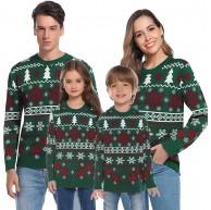 Aibrou Familien Weihnachtspullover Strickpullover mit Rentier Muster Christmas Sweater Warm Winterpulli Pullover Rundhals Langarm Bekleidung