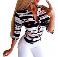 Battnot Damen Oberteile Sommer Elegant Sexy Streifen Brief Druck Schwarz Blusen mit Knöpfe Frauen T-Shirt Vintage Casual V-Ausschnitt Langarm Freizeithemd Pullover Lose Tunika Womens Tops S-XL Bekleidung