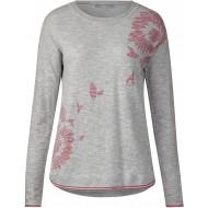 CECIL Damen Melange Pullover mit Blüten mineral grey melange XL Bekleidung