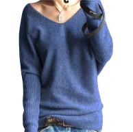 PHELEAD Damen 100% Merinowolle Winterpullover Damen V-Ausschnitt Loose Strickpulli Oversized Pullover Damen Sexy Warm Sweater Bekleidung