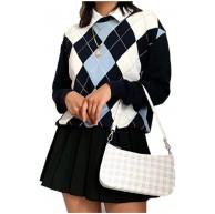 qiulanjia Frauen Mittelalter Argyle Plaid Y2K Pullover Vintage Herbst Ästhetik 90er Jahre Preppy Winter Rundhals Strickpullover Stricken Alte Kleidung Bekleidung