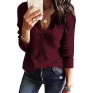 Style Dome Bluse Damen V-Ausschnitt Langarmshirt Casual Solid Waffel Stricken Tops Tunika Pullover Oberteil Bekleidung