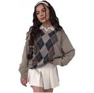 UANOU Y2k Sweater Übergroßer Pullover mit V-Ausschnitt Street Ladies Harajuku Argyle Plaid Fashion Retro Ästhetisches Strickoberteil Bekleidung