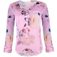 KaloryWee Damen-Bluse mit Blumenmuster und unregelmäßigem Saum. Bekleidung