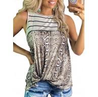 Losrly ärmelloses Damen-Shirt mit Rundhalsausschnitt Schlangenleder-Druck gestreifte Nähte Bekleidung