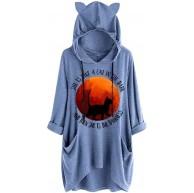 TEFIIR Frauen-Hülsen-Druck-Taschen-Hemd-Unregelmäßige Beiläufige mit Kapuze Lange Hoodies Lose Tops Bekleidung