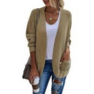 Bequemer Laden Damen Strickjacke Cardigan Lang Strickcardigan Herbst und Winter Casual Front öffnen Ribbed Sweater mit Tasche Bekleidung