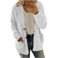 BUKINIE Damen Strickjacke mit offener Vorderseite Fellmantel Vintage-Stil zottelig flauschig Plüsch warm Bekleidung