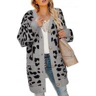 Dreamskull Damen Strickjacke Strickmantel Cardigan Grob Strick Jacken Mantel Lang Grobstrick Strickmantel Longstrickjacke mit Taschen Knöpfen Leopard Winter Fledermausärmel Frauen Bekleidung