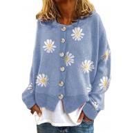 huateng Strickjacke für Damen - Daisy Graphics im Landhausstil Lässiger bequemer Cardigan-Pullover Bekleidung