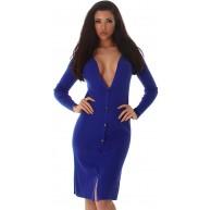 Voyelles Damen Strickjacke langärmelig Einheitsgröße 36-40 blau Bekleidung