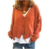Yijinstyle Einfach Outwear für Damen Lange Ärmel Strickcardigan Herbst und Winter Strickjacke mit V-Ausschnitt Kurz Strickmantel Bekleidung