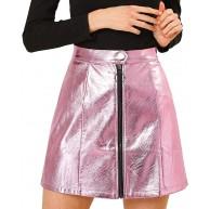 Allegra K Damen High Waist A Linie Reißverschluss Metallisch Minirock Rock Bekleidung