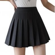 Carolilly Faltenrock Damen Mädchen hohe Taille Mini-Rock Skaterkleid A-Line kurzer Rock gefüttert mit Shorts Tennis Uniformen Schulkinder Gr. XS Schwarz Bekleidung