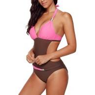Ancapelion Damen Badeanzug Push up Monokini Sexy Rückenfrei Bikini Hohe Taille Bademode Einteiler Tankini Neckholder Schwimmanzug Bekleidung