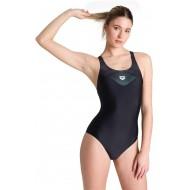 ARENA Damen Sport Badeanzug Mirrored Black-Black 38 Bekleidung