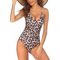 Ekouaer Damen Einteiliger Badeanzug mit V-Ausschnitt Vintage Pin-Up Bauchkontrolle Bademode Monokini Neckholder Badeanzug S-XXL Bekleidung