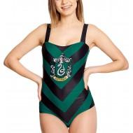 Harry Potter Elbenwald Badeanzug Slytherin Wappen für Damen schwarz grün - XXL Bekleidung