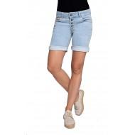 Coccara Damen Shorts Jeans 5 Pocket Vintage Slim fit Curly Button Bekleidung