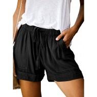 iMixCity Shorts Damen Bequem Sommershorts Einfarbig Strand Shorts Freizeitshorts Bermuda Shorts Kordelzug Shorts mit Großer Tasche Bekleidung