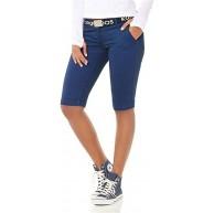 KangaROOS Damen Bermuda Kurze Hose mit Gürtel Blau 36 Bekleidung