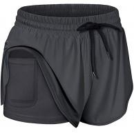 OUICE Homme Damen Run Elastic Waist Workout Shorts mit Liner Pockets Sport Yoga Shorts Bekleidung