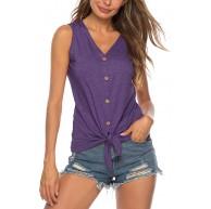 T-Shirt Damen Ärmellos Weste Tank Top Sommer Oberteile Top V Ausschnitt Blusen Kurzarmshirt Lässige Blouse Tanktops Schaltflächen Bekleidung