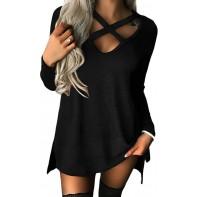 YOINS Pullover Damen Sexy Oberteil Damen Schulterfrei Langarmshirts Herbst T-Shirt V-Ausschnitt Tops Bekleidung