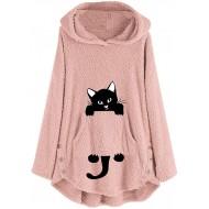 Lazzboy Katze Stickerei Plus Size Hoodie Top Pullover Sweatshirt Bluse Kapuzenpullover Damen Mäntel Knopf Mantel Flauschigen Schwanz Outwear Bekleidung