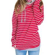 Voopptaw Damen Beiläufig Doppelt Hoodies Streifen Lange Ärmel Wasserfallausschnitt Kordelzug Pullover Sweatshirts Tops Bekleidung