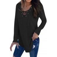 Amphia Damen Langarmshirt Damen Langarm Sweatshirt Pullover Oberteil Tops - Frauen V-Ausschnitt Strap Langarm T-Shirt Top Herbst Bluse Bekleidung