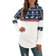 AmyGline Weihnachtspullover Damen Langarm Rundhals Pullover mit Weihnachtsmuster Farbblock Strick Pulli Winter Christmas Sweater Lose Sweatshirt Oberteil T Shirt Bekleidung