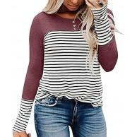 GOKOMO Frauen Plus Size Stripe O-Ausschnitt Langarm Pullover Bluse Tops Shirt Bekleidung