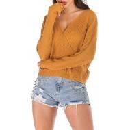 ReooLy Frauen Sexy Pullover Solide Gestrickte Langarm V-Ausschnitt Open Back Pullover Kurzes Oberteil Pullover Bekleidung