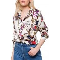 TOFOTL Damen Bluse Tops Beiläufiges Bezaubernde V-Ausschnitt Neuheites Ketten Drucken Shirt Modisches Langarm Tägliches T-Shirt Bekleidung