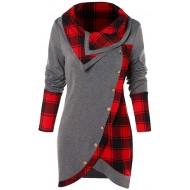 Voicry Bluse Frauen Langarm Plaid Rollkragen Tartan Tunika Sweatshirt Pullover Tops Bekleidung