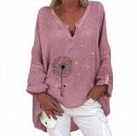 Hunpta @ Damen T-Shirt Löwenzahn Blumen Drucken Lange Ärmel Lose Asymmetrisch Jumper Sweatshirt Pullover Bluse Oberteile Oversize Tops Bekleidung