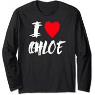 I Love Chloe Red Heart Wife Girlfriend Daughter Valentine Langarmshirt Bekleidung