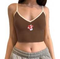 Damen Korsett Crop Top Y2k Spaghettiträger Little Tank Top Indie E Girl V Ausschnitt Rippen Strick Camis Shirts Straßenweste Bekleidung