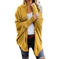 WFRAU Damen Lose Strickjacke Frauen Einfarbig Lange Ärmel Front öffnen Jacke Mode Mantel Pure Farbe Tops Irregulär Beiläufig Bluse Tuniken Oberteile Pullover Bekleidung