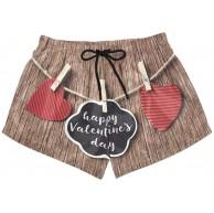 BONIPE Damen Badehose Happy Valentine's Day Love Wäscheklammern Quick Dry Surf Beach Board Shorts mit Kordelzug und Taschen S Bekleidung